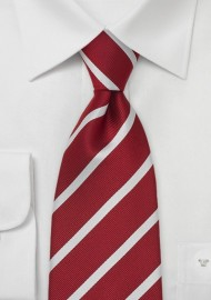 Cherry Red Striped Silk Tie