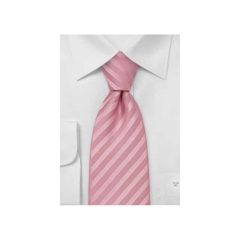 Rose-Pink Silk Tie in XL Length