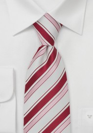 Striped Mens Tie in White, Fuchsia, and Pink