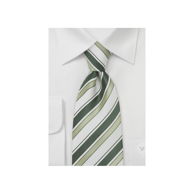 Modern Silk Tie in Green and White