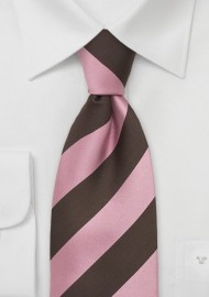 Pink and Brown Striped Silk Tie