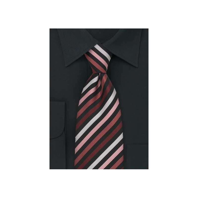 Modern Striped Tie in White, Black, Pink, and Coral
