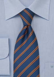 Royal Blue and Orange Striped Tie