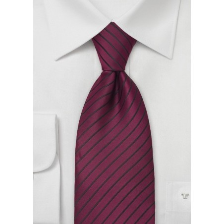 Merlot Red Necktie With Narrow Black Stripes