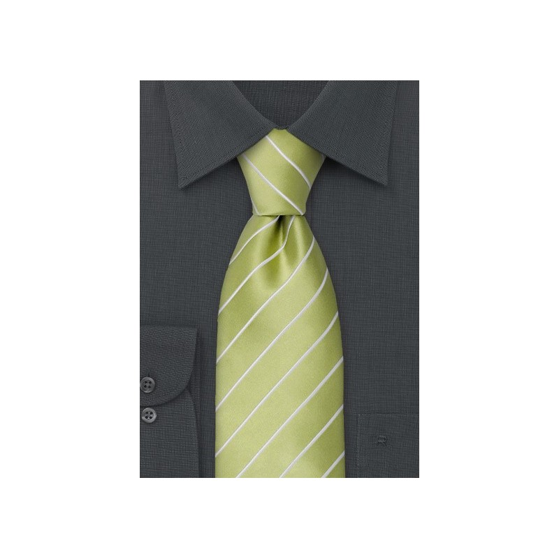 Lime Green Striped Tie in XL Length