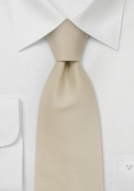Solid Cream Colored Tie in Kids Length