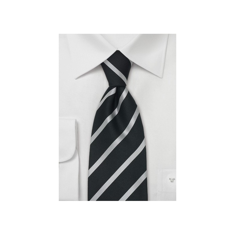 Black & Silver Striped Necktie in XL Length
