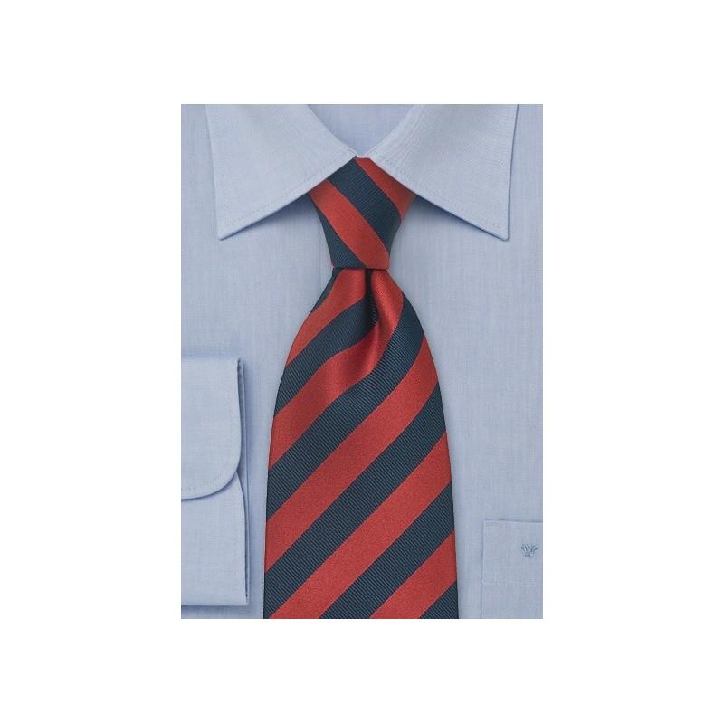Navy and Red Striped Necktie