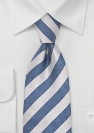 Blue and Light Silver Striped Necktie