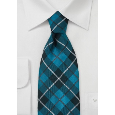 Teal and Gray Tartan Check Tie