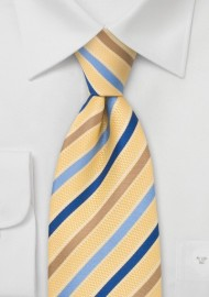 Golden-Yellow and Blue Designer Tie