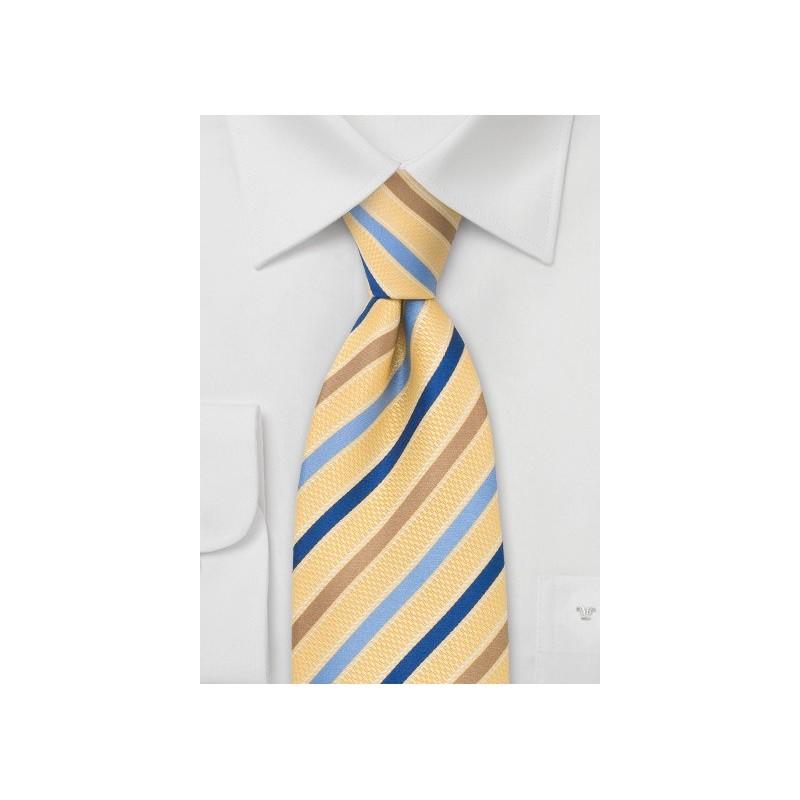 Golden-Yellow and Blue Designer Tie