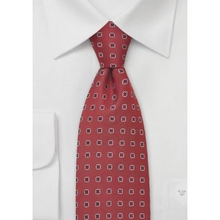 Venetian-Red Silk Tie by Designer Chevalier