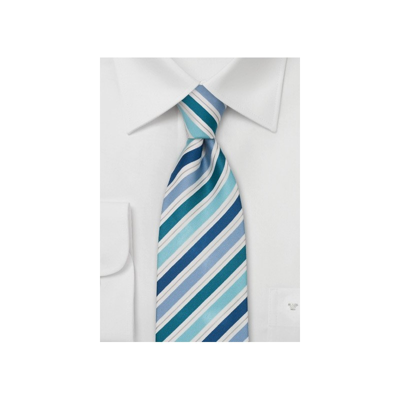 Striped Silk Tie in Teal, Aqua, and Blue