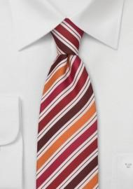 Striped Silk Tie in Orange, White, Red, Burgundy