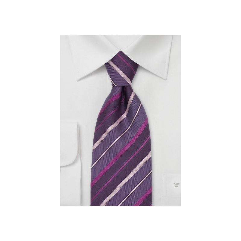Striped Silk Tie in Lavender, Pink, Purple