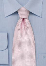 XL Length Silver Pink Silk Tie