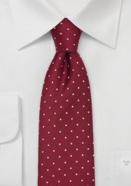 Black with Red Polkadot Swirls Slim Tie
