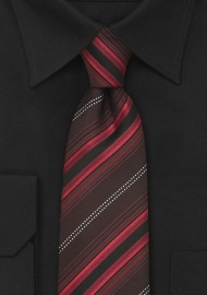 Modern Maroon-Red Striped Necktie