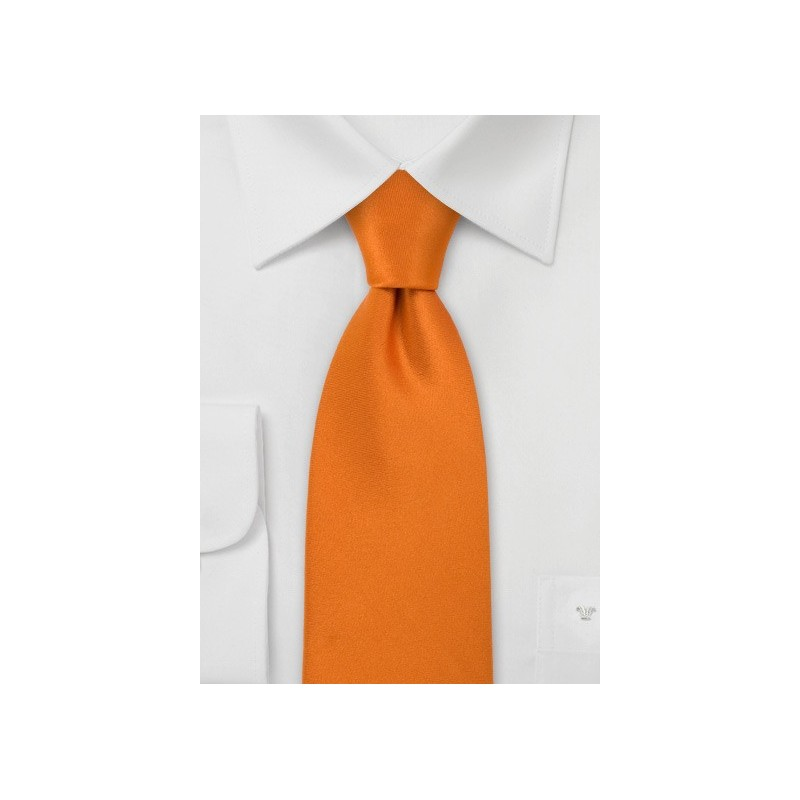 Bright Pumpkin Orange Silk Tie