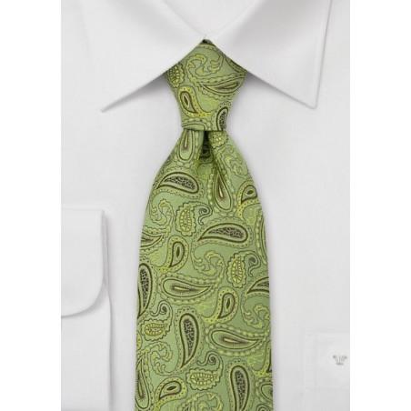 Green Paisley Silk Tie