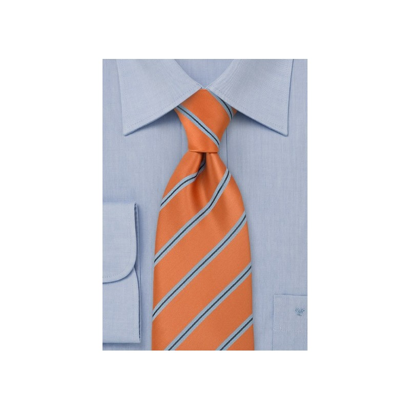 Narrow Striped Tie Orange Light Blue