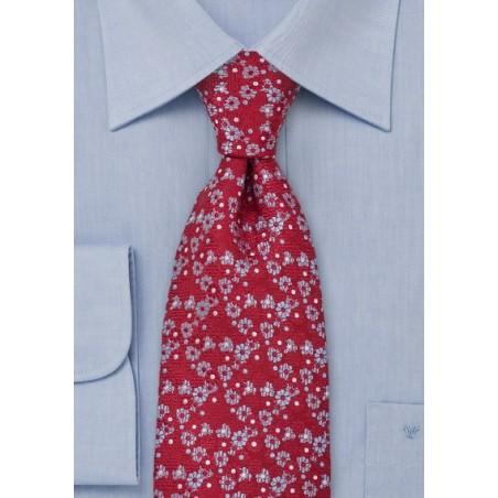 Floral Silk Tie in Red Light Blue