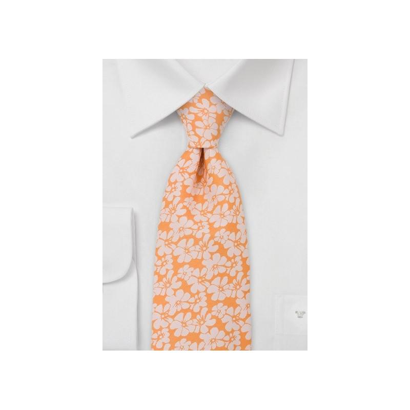 Peach Orange Floral Tie