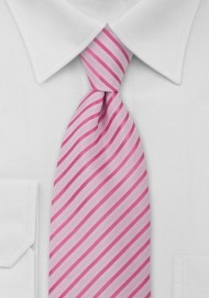 Striped Tie Hot Pink White