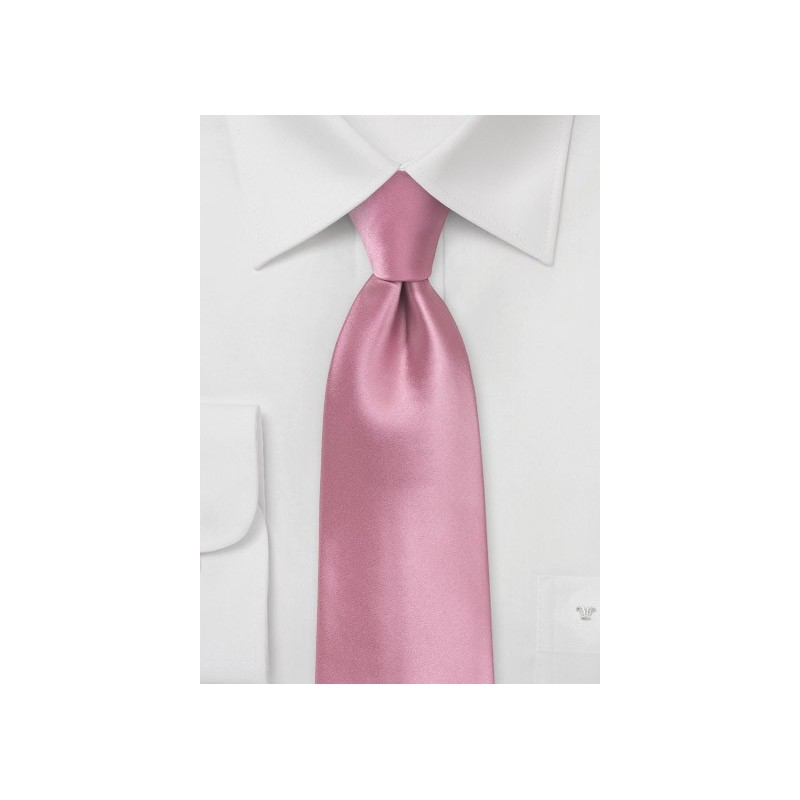 Solid Pink Tie in XL Length