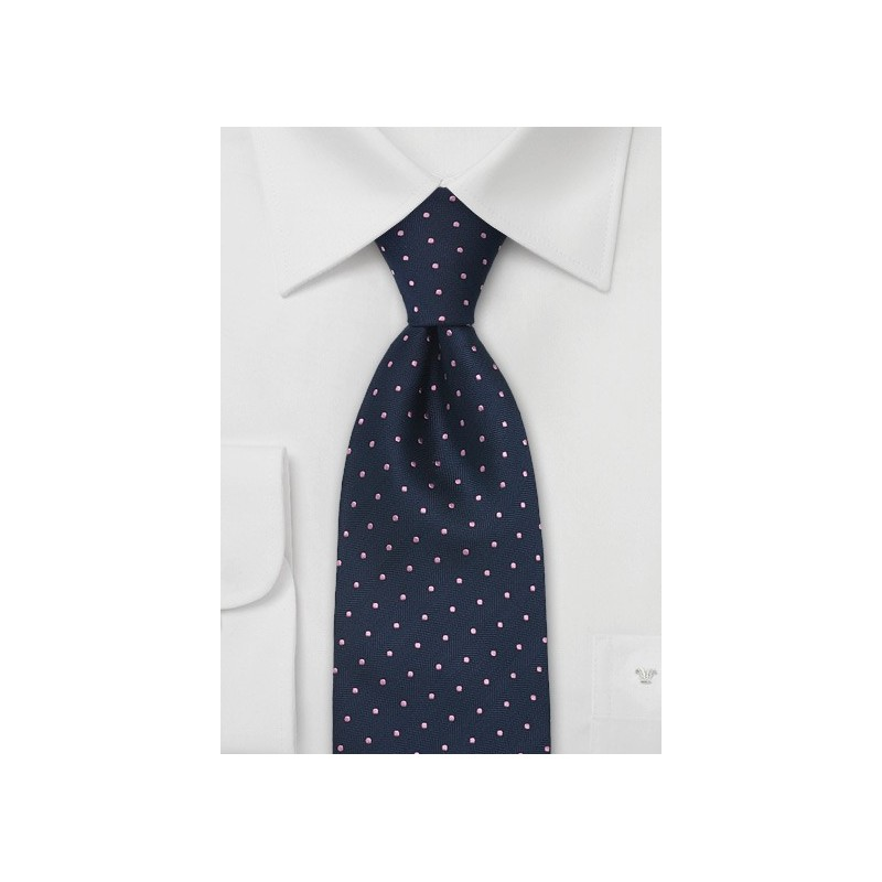 Blue Pink Polka Dot Tie in XL