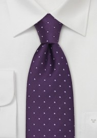 Extra Long Purple Polka Dot Tie