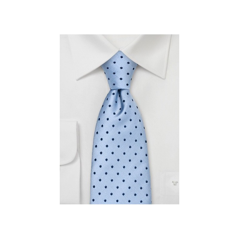 Light Blue Polka Dot Tie in XL Length