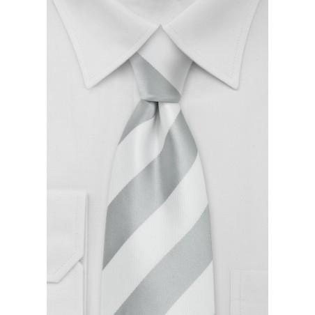 Silver and White Necktie