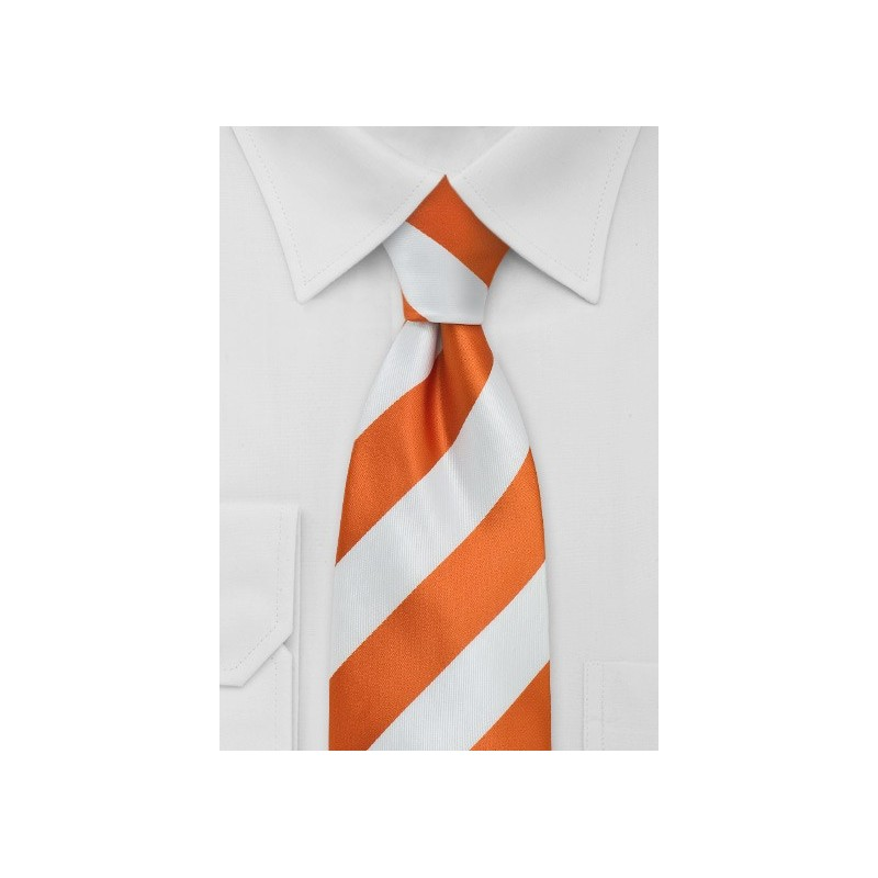 Bright Orange and White Necktie