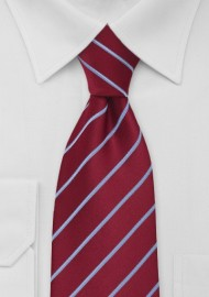 Cherry Red and Light Blue Striped Tie