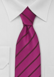 Hot Magenta Striped Mens Tie