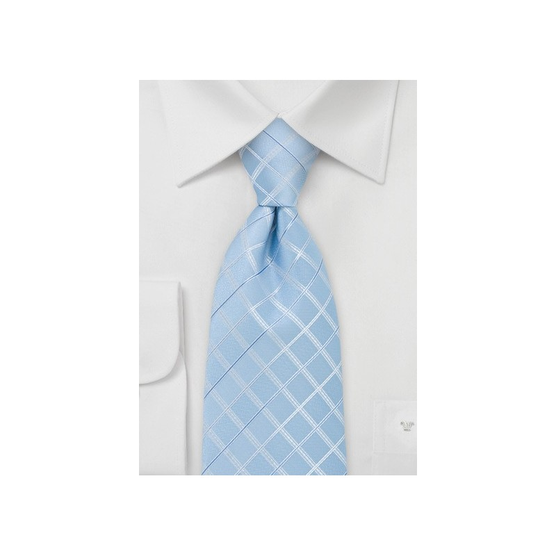 Light Blue Check Patterned Necktie