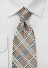 Champagne Color Check Pattern Tie