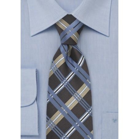 Blue Check Pattern Silk Tie