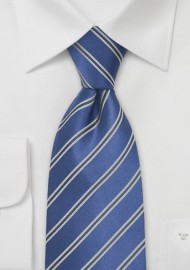 Bright Blue Striped Silk Tie