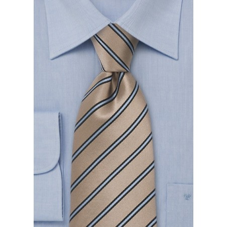 Silk Tie in Camel and Light Blue