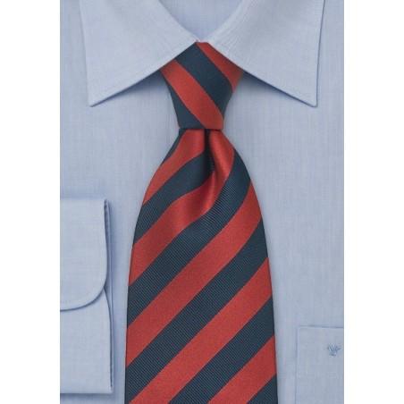 Navy Red Striped XL Necktie