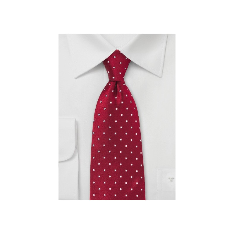 XL Cherry-Red Polka Dot Tie