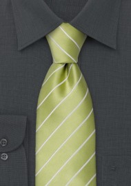 Lime Green Striped Kids Tie