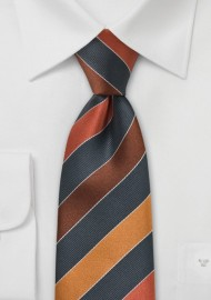 Copper, Brown, Tan Striped Tie