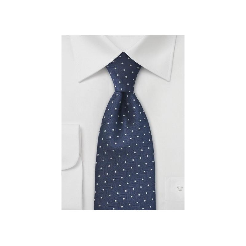 Navy Blue Silver Polka Dot Tie