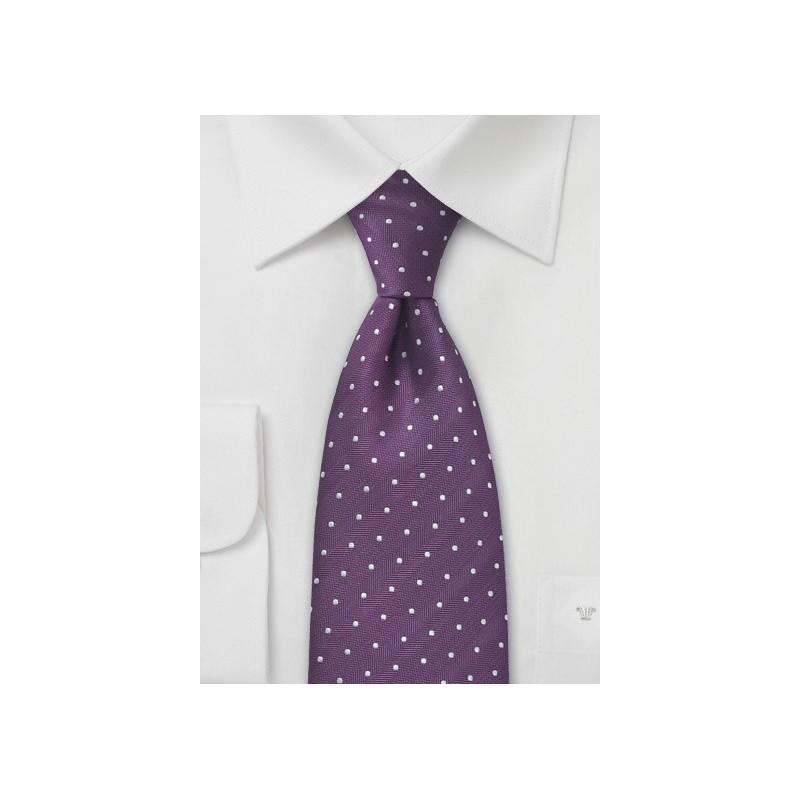 Purple Polka Dot Silk Tie
