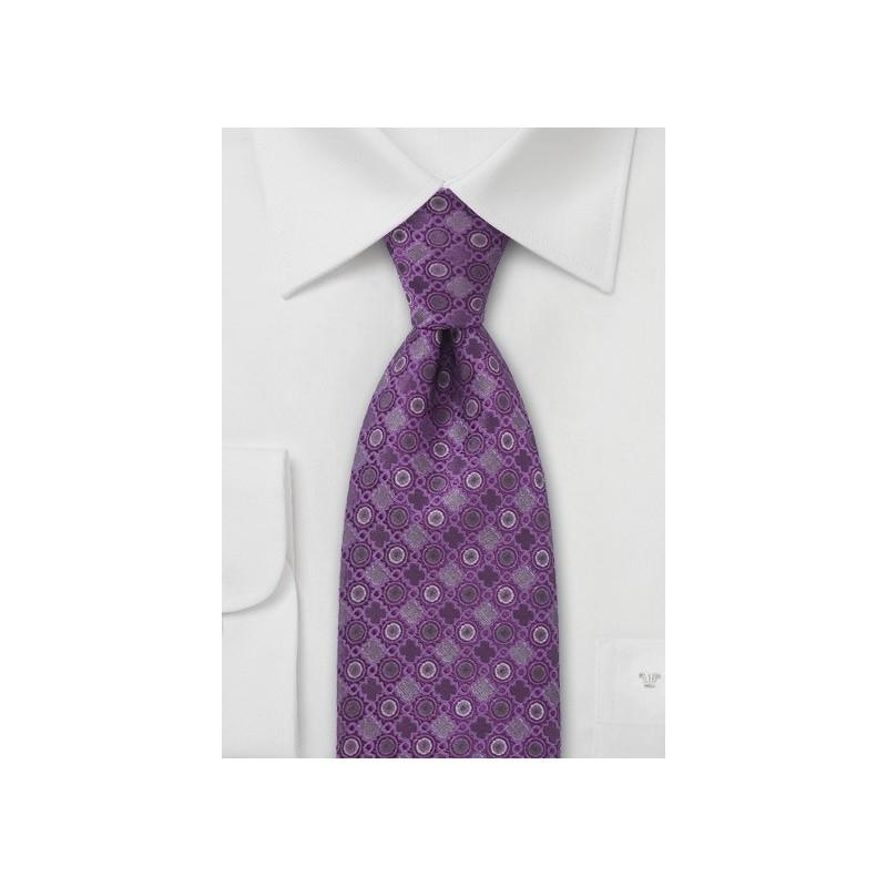 Lavender and Silver Silk Tie