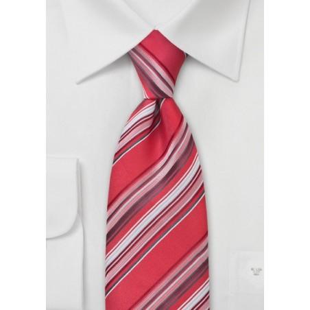 Coral Red Striped Necktie